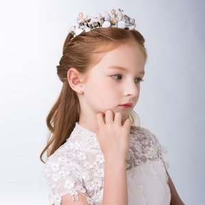 CC Children Tiaras And Crowns Birthday Party Jewelry Hair Accessories For Bridesmaids Girls Beach Pearl Flower Shape Gifts su079 201013