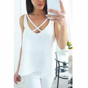 2018 Sommer-Top Frauen Tunika tiefer V-Ausschnitt Blusas Ärmel T-Shirt Criss Cross beiläufiges Damen-T-Shirt WS8159X i5V9 #