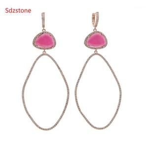 SDZSTONE 70 * 34mm Tamaño grande Mujer Oval Pendiente Wiht Pink Green Big Zircon Fashion Cuelga Jewelry1