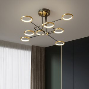 Nordic chandelier  copper living room bedroom hanging lamp fashionable hotel villa apartment restaurant rotating droplight