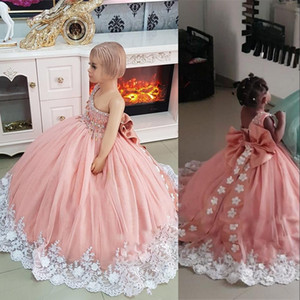 New Lovely Pink Puffy Girls Pageant Dresses One Shoulder White Lace Hand Made Flowers Beaded Sleeveless Kids Flower Girls Birthday Gowns