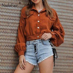 Nadafair velluto a coste Crop rivestimento delle donne del cappotto autunno monopetto allentati Streetwear invernali Outwear brevi rivestimenti 2020