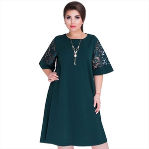 Fashion New Splice Loose Lace Summer Dresses Plus Size Women Knee length Office Dress drop shipping good quality designer clothes