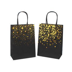 Siyah Sıcak Damgalama Çanta Tote Çanta Kart Kağıt Torba Moda Kraft Kağıt Hediye Paketleme Çantası Yeşil Alışveriş Çantaları GWF4341