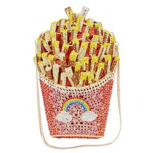 Newest Designer French Fries Chips Clutch Women Crystal Evening Minaudiere Bag Diamond Wedding Handbag Bridal Purse A27 Q1113