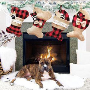 Köpek Kemik Noel Çorap Hediye Çantası Kemik Balık Şekli Ekose Asılı Stoklar Noel Ağacı Dekorasyon Şeker Çanta Owd2700