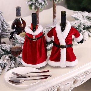 Merry Christmas Elbise Etek Şarap Şişesi Kapak Yeni Yıl Xmas Süslemeleri Ev Dekorasyonu için Navidad Hediyeler Çanta EWC2970