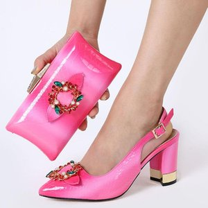 doershow New orang color Italian Shoes With Matching Bags African Women Shoes and Bags Set For Prom Party Summer Sandal!HJJ1-1