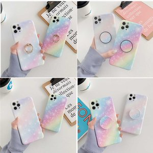 Rainbow Gradient Starry sky Phone Case For iphone 11 Pro Max 7Plus 8 Plus XSMAX XR XS SE 2020 Soft IMD Marble Cover Coque