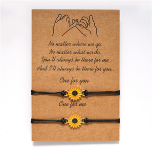 Wish card adjustable sunflower Bracelet with wish rope girls women best gifts