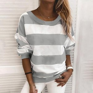 Hoodies Women Thin 2020 New Spring Autumn Korean Style Stripe Loose Large Simple Stars Harajuku All-match Womens Clothing Chic