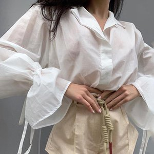 Women Casual Cotton Linen Solid Color Blouses Buttons Lapel Elastic Tie Long Sleeves Shirts Tops Fall Elegant Shirts