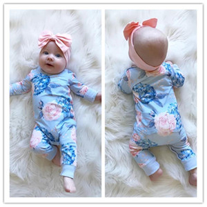 New Fashion Newborn Romper Floral Jumpsuit +headband Baby Playsuit Girl Outfit Clothes Set kids clothes