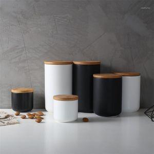 زجاجات التخزين الجرار الشمال الحد الأدنى المطبخ مختومة السيراميك جرة التوابل الحاويات خزان مع غطاء الخشب الملح زجاجة القهوة كاددي 1