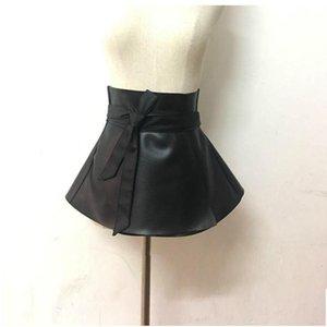 2020Ladies Peplum Black Dress Corset Belt Women'S Bowknot Tie Adjustable Pu Leather Ruffled Wide Waist Belts For woman