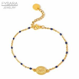 Fysara coloré Bracelet en perles pour les femmes Religion Charm Jwelry en acier inoxydable d'or Bacelet Choker chaîne Bnagle Christian sqcdJu
