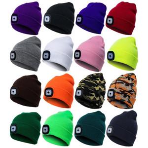 chapéu Beanie Cap malha Sanwood Unisex Outdoor Ciclismo Caminhadas LED Hat Inverno elástico com iluminação Xmas presente para o amigo