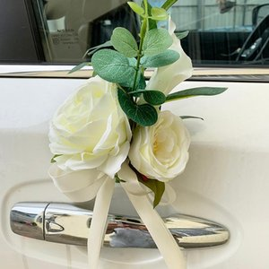 custom made New Creative Wedding Car Decoration Flower Door Handles Rearview Mirror Decorate Artificial Flower Accessories