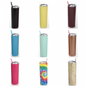 20oz Stainless Steel Skinny Tumbler Lid Straw Coffee Cup Wine Tumblers Mugs Portable Double Wall Vacuum Insulated Cup Water Bottles VT1852