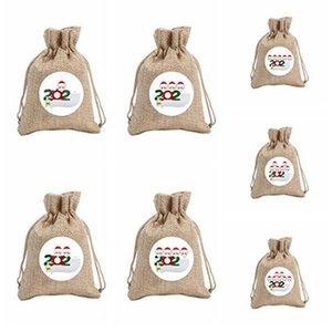 Quarantäne-Weihnachtsgeschenk-Tasche Tunnelzug Taschen Beuter Schneemann-Baum Dekoration Hängen Ornamentparty Malerei Dekor Props IIA733