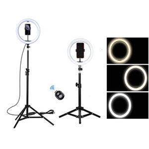 10inch 12inch Photography LED Selfie Ring Light Dimmable Camera Phone Ring Lamp With Stand Tripods For Makeup Video Live Studio