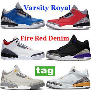 Sıcak Jumpman Erkekler Basketbol Ayakkabıları III Siyah Mahkemesi Mor Kedi Varsity Kraliyet Çimento Yangın Kırmızı Denim Serin Gri UNC Koşu Sneaker Spor Eğitmenleri