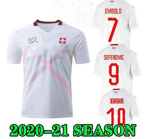 Top Quality 2020 Suiza Jerseys de fútbol Away White 19 20 Suiza Inicio Akanji Zakaria Rodríguez Elvedi National Team Football Shirts