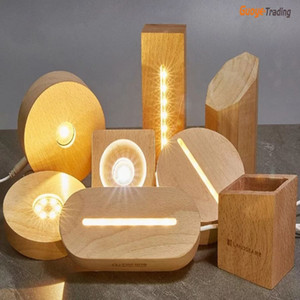 LED luminous base night light crystal ball base solid wood table lamp handicraft ornaments Wood crafts lamp various colors and shapes