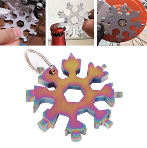 18 in 1 Snowflake Spanner Keyring Hex Multifunction Outdoor Portable Wrench Key Ring Pocket Opener Survive Hand Tool Accessories LJJP684