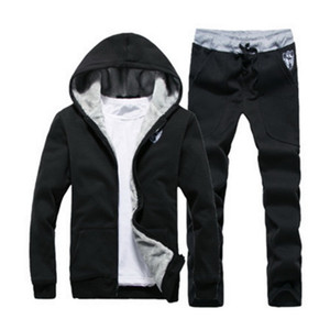 Mens Sportswear Casual Winter Warm Hooded Tracksuit Men Two Piece Sets Suit With Hood 2PC Fleece Thick Jacket + Pants Male 3XL 201020
