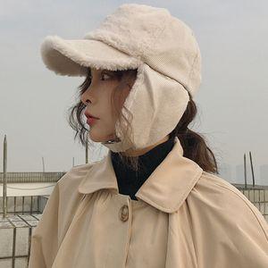 HT2186 Men Women Winter Cap Hat Thick Warm Unisex Baseball Cap Fashion Earflap Cap Men Women Berber Fleece Baseball Bomber Hat Q1223