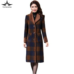 Leiouna Plus Size Fashion New Winter Long Wool Coats Female Women Clothing Women's Winter Plaid Coat Korean Clothing Coats 201104