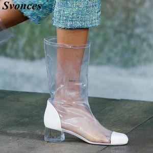 Svonces Стильные ясные прозрачные коренастые каблуки сапоги для женщин летом весенний сексуальный круглый носок вырезать короткие ботинки лодыжки из ПВХ обувь