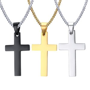 Mens Stainless Steel Cross Pendant Necklaces Men s Religion Faith crucifix Charm Titanium Steel chain For women Fashion Jewelry Gift