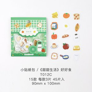45pcs Sweet Life Series Journal Dekorative Tier-Aufkleber Scrapbooking Stock-Label-Tagebuch Briefpapier Album Pflanze Blumen-Aufkleber bbyHXN