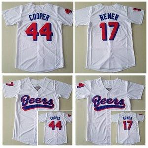 Filme Beers Baseball 44 Joe Coop Cooper Jersey 17 Doug Remer Tudo costurado Branca equipe cor respirável algodão puro Legal Base Hot Men