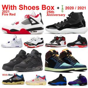 Novo 2021 Bio Hack 1S Fire Red 4s 11 25º Aniversário 5 Quais são os 4s 11s Sapatos de basquete Sapatilhas com box homens por atacado