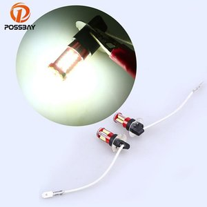 POSSBAY 2 Pcs White 1156 1157 9005 9006 H1 H3 H4 H7 H8 H11 3014 57 SMD LED Auto DRL Driving Fog Lamp Head Light Bulbs DC 12V1
