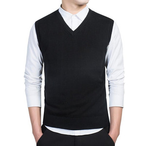 Men's Sweaters Product Sweater Cotton Knitted Vest V-Neck Sleeveless Pullover
