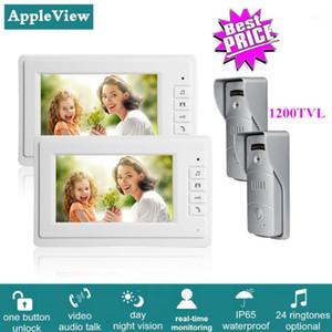 Video Door Phones 7 Inch Color Phone Intercom System With 2pcs Visual Monitor + 1200TVL Call Panel Waterproof Camera Night Vision1