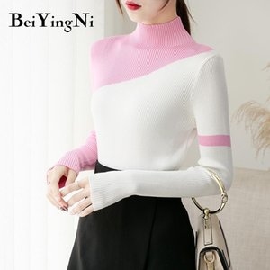 Beiyingni Korean Style Female Tops Knitwear Spell Color Slim Spell Color Turtleneck Sweaters Women Vintage Pullovers Pull Femme