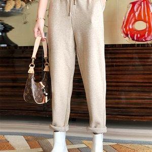 Women's wear autumn   winter 2020 new European heavy fleece casual pants