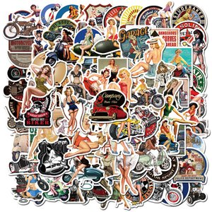 100 PCS Mixed Car Stickers Motorcycle Retro girls Sexy For Laptop Skateboard Stickers Pad Bicycle PS4 Phone Luggage Helmet Pvc Guitar Decal