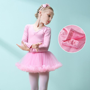 Girls Skirted Leotard Children's Autumn Dance Training Dress Long Sleeve Tutu Ballet Clothes Cotton Dancewear Kids Solid Dancer