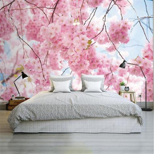 Cherry Blossoms Photo Wallpapers 3D Murals Pink Flowers Wallpapers for Walls 3D Wall Papers Home Decor Living Room Bedroom