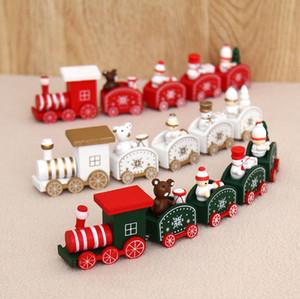 Nuevo tren de madera de madera para niños regalos de día de Navidad juguetes verde / blanco / rojo Navidad tren de madera copo de nieve pintado Navidad decoración adorno