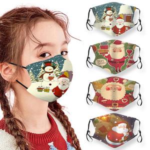 Fête de Noël masques pour enfants Cartoon Noël Visage Masque lavable réutilisable Anti-poussière Masque bouche couverture pour Garçon Fille