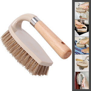 Shoe Brushes Kitchen Clothes Wood Multifunctional Brushes Dirt Remove Toilet Bathroom Bathtubs Shoes Scrub Brush Tile Floor Tool XD24026