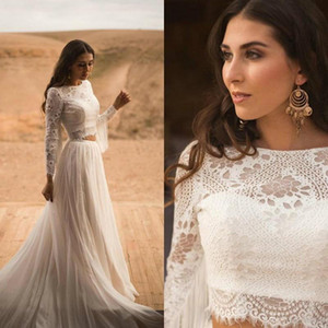 2021 New Bohemian A-Line Wedding Dresses Long Sleeves Two Pieces Lace Appliques Jewel Neck Bridal Gowns Button Tassel vestido de novia