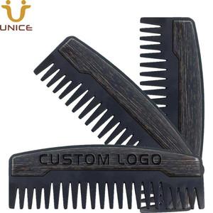 موك 100pcs التي Preminum OEM مخصص LOGO مشط الأسنان واسعة المعدنية خشبية اللحية مشط النفط أمشاط الشعر للرجال